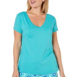 Womens Solid V- Back Pajama Top