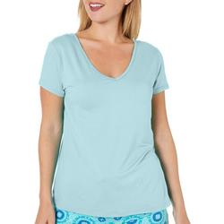 Womens Solid V-Neck T-Shirt