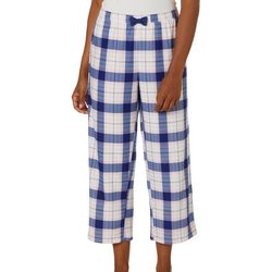 COOL GIRL Womens Dream Knit Plaid Pajama Capris