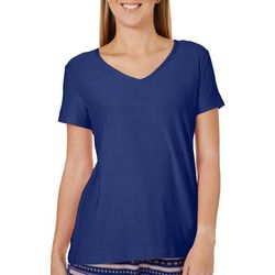 COOL GIRL Womens Solid V-Neck Pajama Top