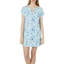 Womens Seashell Print Keyhole T-Shirt Nightgown