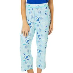 COOL GIRL Womens Shell Print Pajama Capris