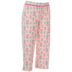 COOL GIRL Womens Pineapple Print Pajama Capris