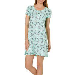 COOL GIRL Womens Beach Palm Short Sleeve T-Shirt Nightgown