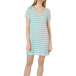 Womens Stripe Print Pocket T-Shirt Nightgown
