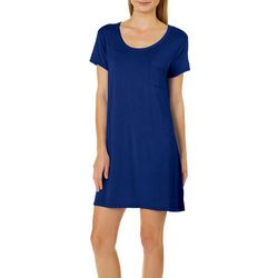 COOL GIRL Womens Solid Pocket T-Shirt Nightgown