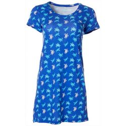 Womens Turtle Print Pocket T-Shirt Nightgown