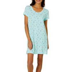 COOL GIRL Womens Flamingo Palm Tree Pocket T-Shirt Nightgown