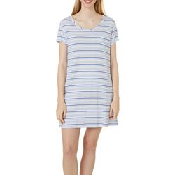 Womens Striped Pocket T-Shirt Nightgown
