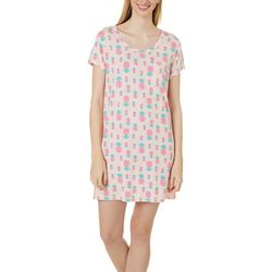 Womens Pineapple Print Pocket T-Shirt Nightgown