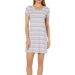 COOL GIRL Womens Stripe Asymmetrical Print T-Shirt Nightgown