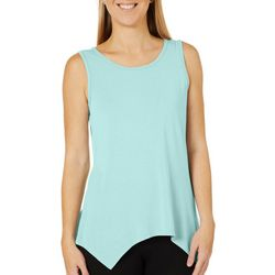 COOL GIRL Womens Solid Asymmetrical Sleeveless Pajama Top