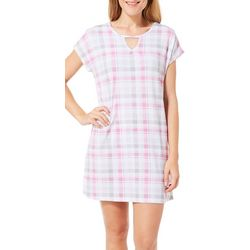 COOL GIRL Womens Plaid Keyhole T-Shirt Nightgown