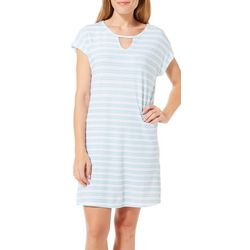 COOL GIRL Womens Striped Keyhole T-Shirt Nightgown