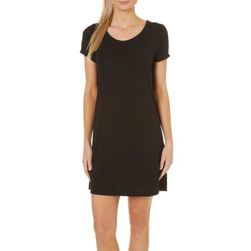 COOL GIRL Womens Solid Pocket T-Shirt Nightgown  64efa4ec2f