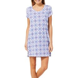 COOL GIRL Womens Tile Print Split Side T-Shirt Nightgown