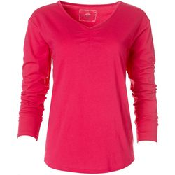 Goodnight Kiss Womens Solid V-Neck Long Sleeve Top