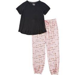 Muk Luks Womens Weiner Dog Print Pajama Jogger Set