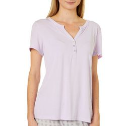 COOL GIRL Womens Solid Henley Button Placket Pajama Top