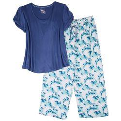Muk Luks Womens Painted Floral Pajama Pants Set