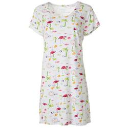 Womens Flamingo Palm Print T-Shirt Nightgown