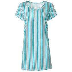 Womens Verticle Stripes T-Shirt Nightgown