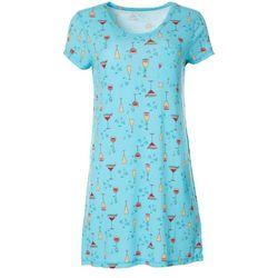 COOL GIRL Womens Drinks Print Pocket T-Shirt Nightgown