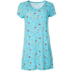 Womens Drinks Print Pocket T-Shirt Nightgown