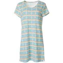 Womens Geometric Stripe Print T-Shirt Nightgown