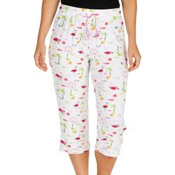 Womens Fashion Flamingo  Print Pajama Capris