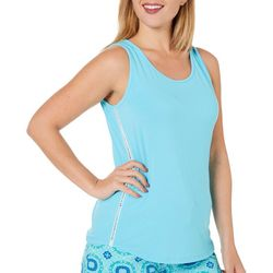 Womens Solid Caged Crochet Trim  Pajama Tank Top