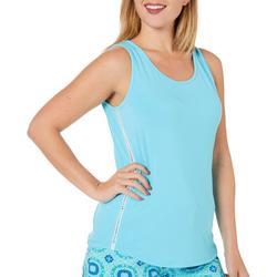 Womens Solid Caged Crochet Trim  Pajama Tank Top