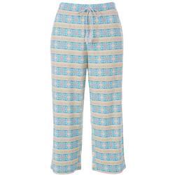 Women's Fashion Geometric Tile Print Pajama Capris