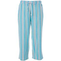 Womens Stripe Print Pajama Capris
