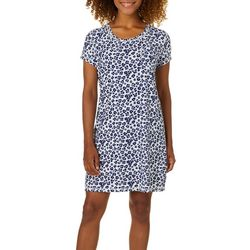 Womens Leopard Short Sleeve T-Shirt Nightgown