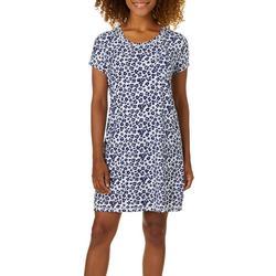 Womens Leopard Short Sleeve T-Shirt Nightgown