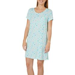 Womens Fish Print Pocket T-Shirt Nightgown