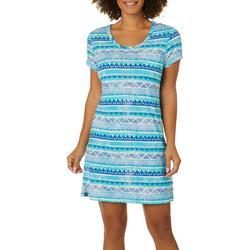 Womens Geometric Stripes T-Shirt Nightgown