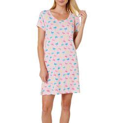 Womens Colorful Flamingos T-Shirt Nightgown
