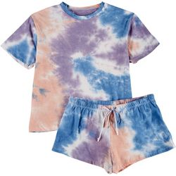 Cozy Rozy Womens Tie Dye Pajama Shorts Set