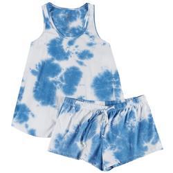 Womens Pastel Tie Dye Racerback Pajama Shorts Set