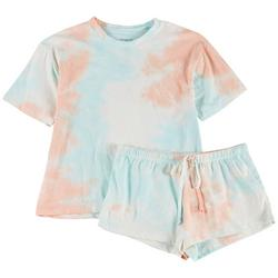Womens Pastel Tie Dye Pajama Shorts Set