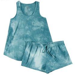 Cozy Rozy Womens Turquoise Tie Dye Pajama Shorts