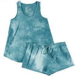 Womens Turquoise Tie Dye Pajama Shorts Set