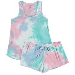 Womens Colorful Tie Dye Pajama Shorts Set