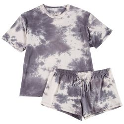 Cozy Rozy Womens Two-Tone Tie Dye Pajama Shorts Set