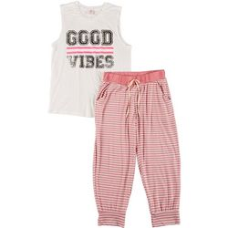 Cozy Rozy Girls Good Vibes 2-Pc. PJ Joggers Set