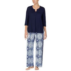 Ellen Tracy Womens Damask Palazzo Pajama Pants Set