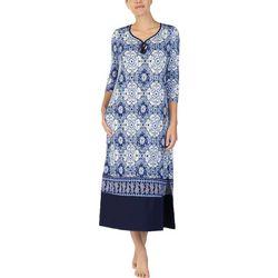 Ellen Tracy Womens Tile Print Long Tunic Nightgown