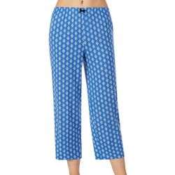 Ellen Tracy Womens Geo Print Cropped Pajama Pants
